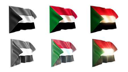 defeated: sudan  flags waving set 6 in 1 athwart styles