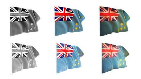 Tuvalu flags waving set 6 in 1 athwart styles photo