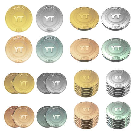 mayotte: MAYOTTE coin four color styles set Stock Photo