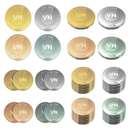 viet nam: VIET NAM coin four color styles set Stock Photo