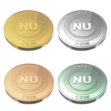 niue: NIUE beautiful coin four color style Stock Photo