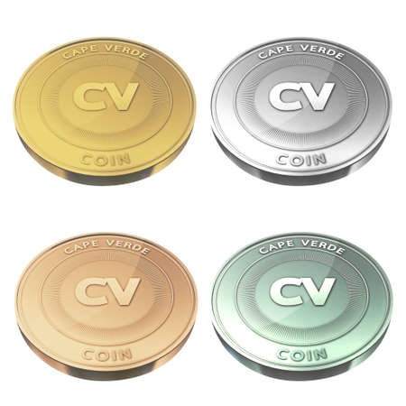 verde: CAPE VERDE beautiful coin four color style Stock Photo