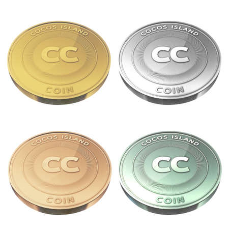 cocos: COCOS ISLAND beautiful coin four color style Stock Photo