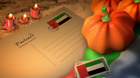 united arab emirates halloween day and postcard