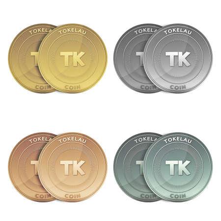 tokelau: TOKELAU two Coins on background