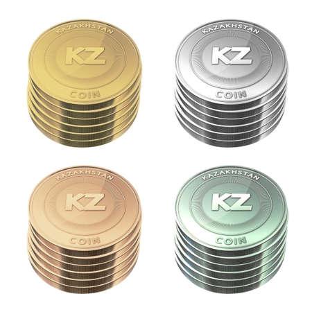 kazakhstan: KAZAKHSTAN Coins stacked four color on background Stock Photo