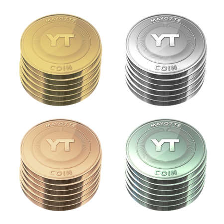 mayotte: MAYOTTE Coins stacked four color on background Stock Photo