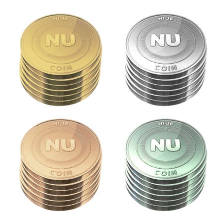 niue: NIUE Coins stacked four color on background