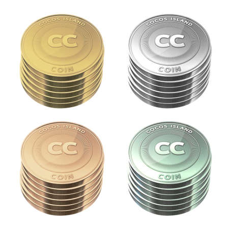 cocos: COCOS ISLAND Coins stacked four color on background Stock Photo