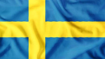 bandera de suecia: bandera de suecia ondeando colorido Foto de archivo