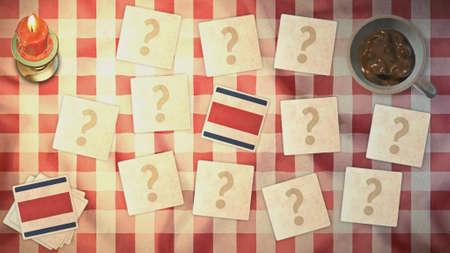 matching: estilos Costa Rica tarjeta a juego de la bandera de la vendimia Foto de archivo