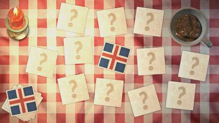 matching: Islandia estilos de tarjetas a juego de la bandera de la vendimia