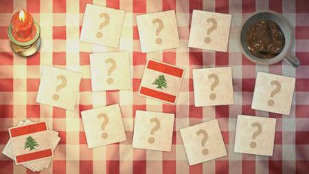 matching: Estilos L�bano de tarjetas a juego de la bandera de la vendimia Foto de archivo