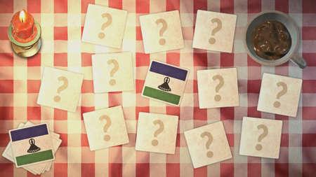 matching: Estilos Lesotho tarjeta a juego de la bandera de la vendimia
