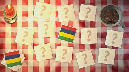 matching: estilos mauricio tarjeta a juego de la bandera de la vendimia Foto de archivo