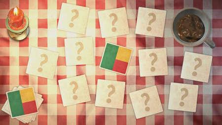 matching: estilos Benin tarjetas de juego de la bandera de la vendimia