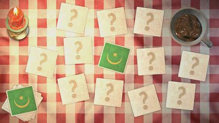 matching: estilos mauritania tarjeta a juego de la bandera de la vendimia