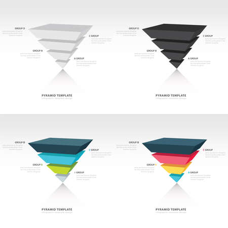 pyramid: pyramid upside down infographic template set