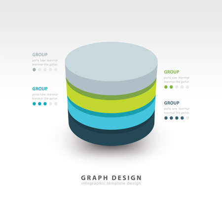 Modern Infographics template cylinder vector 4 color Ilustrace
