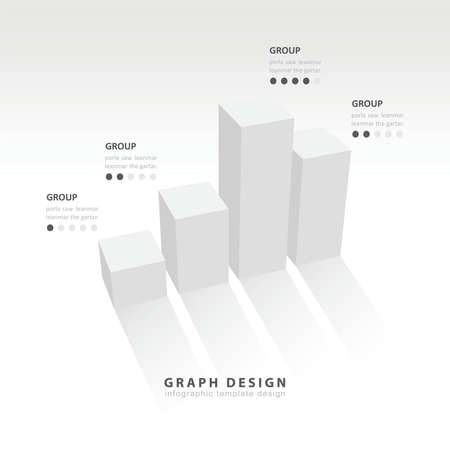 3D grap illustration Infographic white color Vector