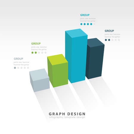 3D grap illustration Infographic 4 color Vector
