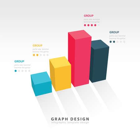 3D grap illustration Infographic Vector