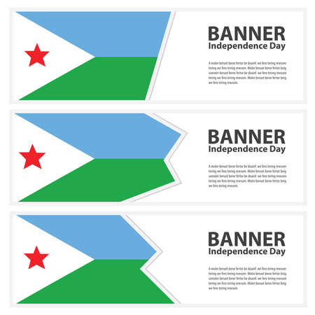 djibouti: djibouti Flag banners collection independence day Illustration