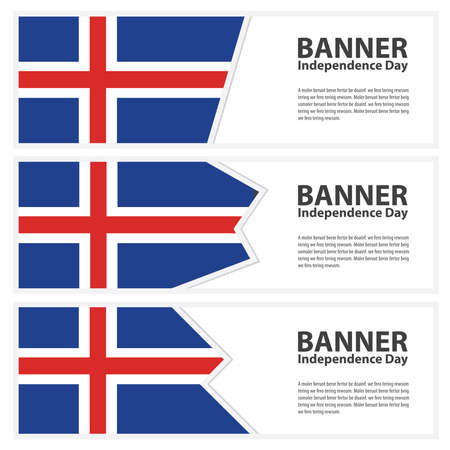 iceland flag: Iceland Flag banners collection independence day Illustration