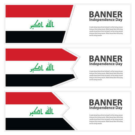 iraq flag: iraq Flag banners collection independence day Illustration