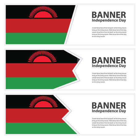 malawi flag: Malawi Flag banners collection independence day Illustration