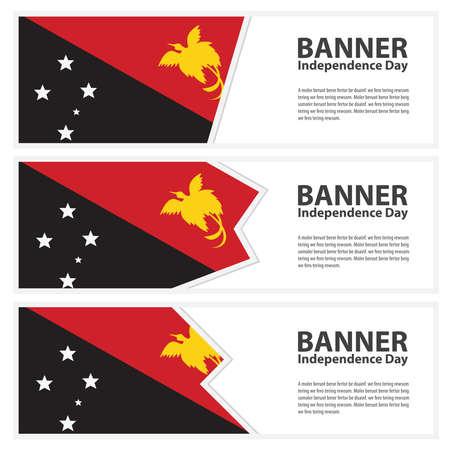 papouasie: Papouasie-Nouvelle-Guin�e Drapeau banni�res de la Journ�e de l'ind�pendance collection Illustration