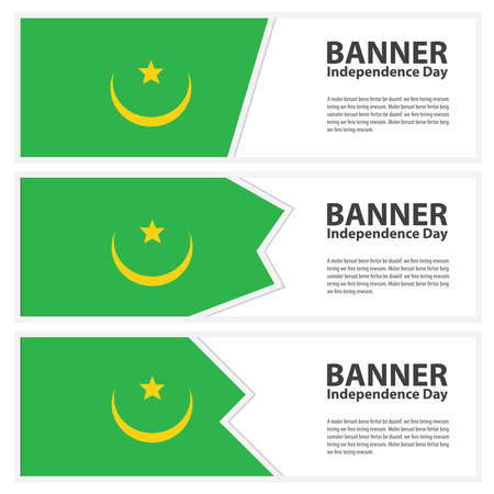 mauritania: mauritania Flag banners collection independence day Illustration