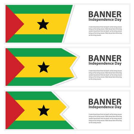 principe: Santo Tom� y banners Bandera principe d�a de la independencia colecci�n Vectores