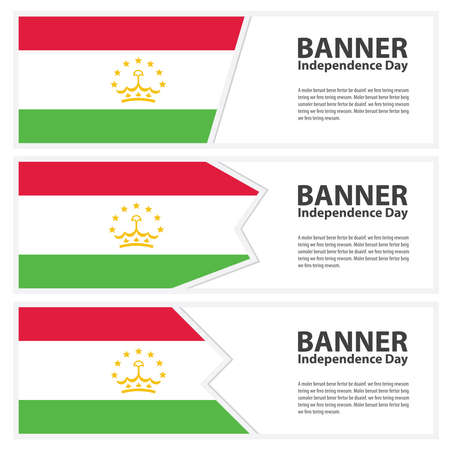 tajikistan: Tajikistan Flag banners collection independence day