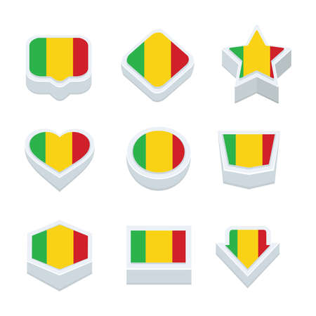 bevel: mali flags icons and button set nine styles