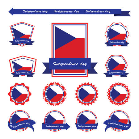 the czech republic: czech republic independence day flags infographic design Illustration