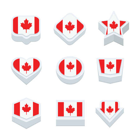 world  hexagon: canada flags icons and button set nine styles