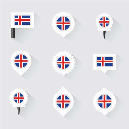 iceland flag: Iceland flag and pins for infographic, and map design