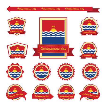 kiribati: Kiribati independence day flags infographic design