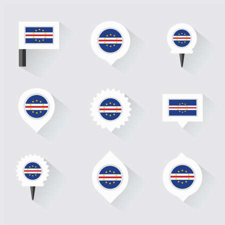 cape verde: cape verde flag and pins for infographic, and map design