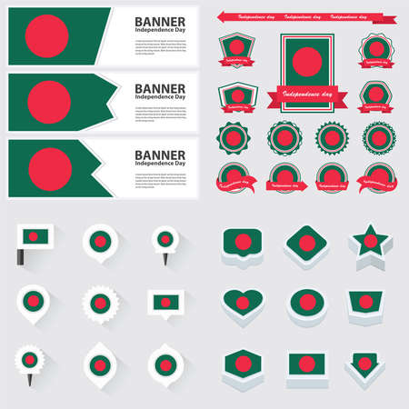 bangladesh: bangladesh independence day, infographic, and label Set. Illustration