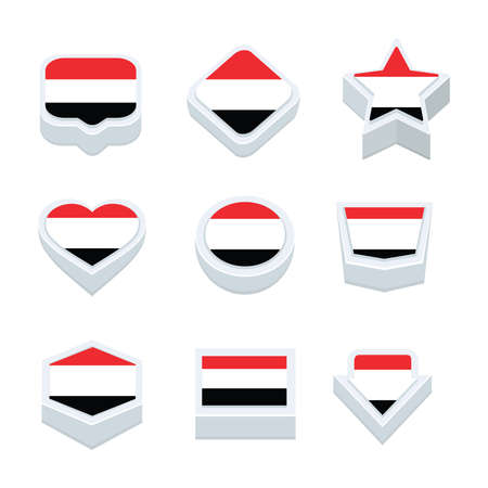 nine: yemen flags icons and button set nine styles