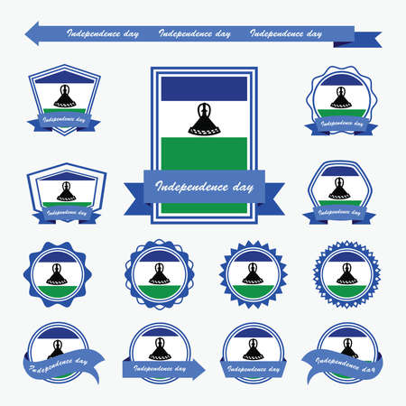 lesotho: Lesotho independence day flags infographic design Illustration