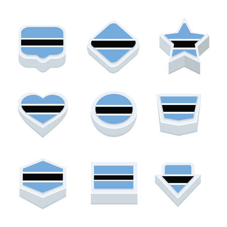 world  hexagon: botswana flags icons and button set nine styles