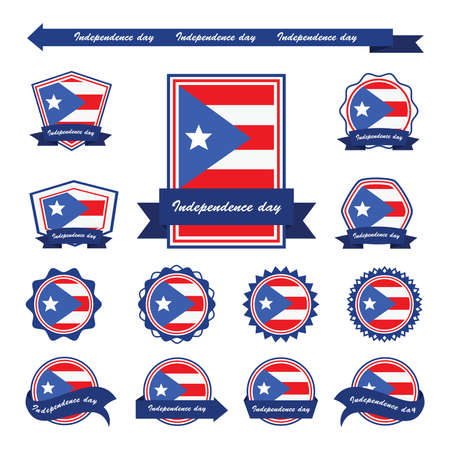 puerto rico: PUERTO RICO independence day flags infographic design