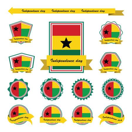 guinea bissau: guinea bissau independence day flags infographic design Illustration