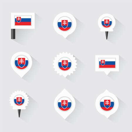 slovakia flag: Slovakia flag and pins for infographic, and map design