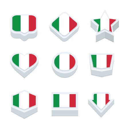 bandera italia: Italia banderas iconos y botón SET nueve estilos Vectores