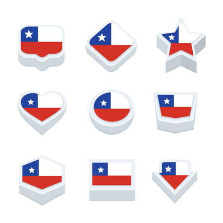 nine: chile flags icons and button set nine styles Illustration