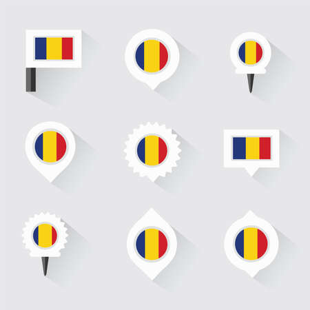 esp: romania flag and pins for infographic, and map design Illustration